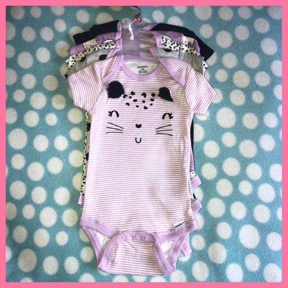 fe60330c3 Gerber One Pieces | Nwt 69 Month Baby Girl Onesie 5pk Cat | Poshmark